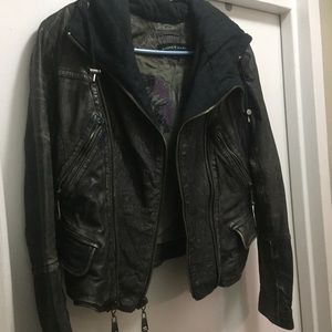 Distressed leather hooded moto jacket Andrew Marc